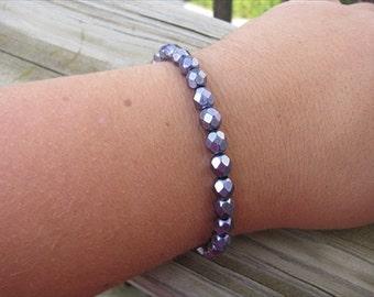 Layering Bracelet- Metallic Purple Beaded Bracelet
