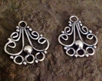 Sterling Silver Rustic Scrolls Chandeliers or 3 to 1 Links or Connectors in Oxidized Sterling Silver L20