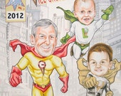 Super Hero Family of Three 3 Custom Portraits Dad Mom Son Daughter Kids