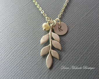 Personalized Silver Leaf Necklace, Silver Inital Necklace