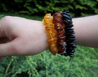 Set of 3  BALTIC  AMBER  BRACELETS  7.8 inches.