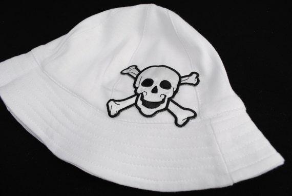 Infant Boy Sun Hat - Skull and Crossbone Baby Boy Hat - 0-9 month boy hat