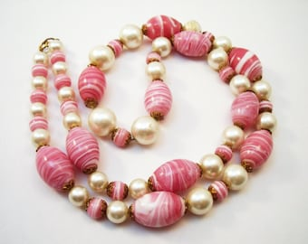 Vintage glass beads-Pink glass swirl bead necklace with faux pearls for wear or repair or repurpose