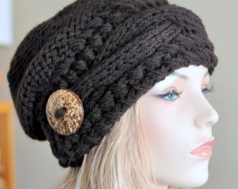 Slouchy Hat Slouchy Beanie Cable Button Hat Hand Knit Winter Women Hat CHOOSE COLOR Espresso Brown Dark Chocolate Fall Chunky Christmas Gift