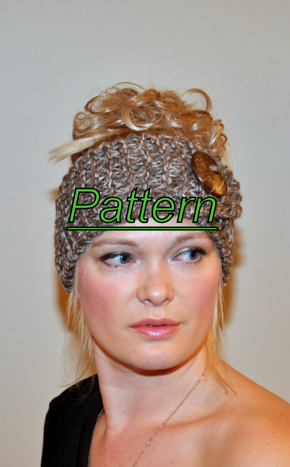 Ear Warmer Button Headband Head Wrap Knit PDF PATTERN DIY