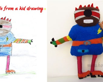Custom making soft toys from children drawings Plush made from your drawings - MADE TO ORDER