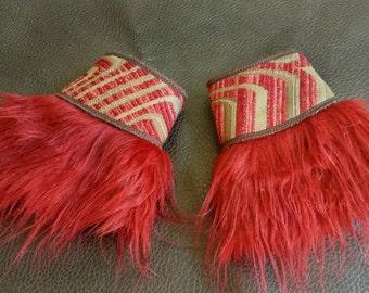 Red Fur Geometric Cuffs - Steampunk fashion