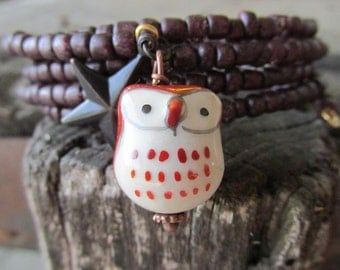 Ceramic Owl Bracelet - Woodsy  - Starry Night - Purple Bangle - Rich Plum - Autumn Jewelry