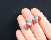 Red and Turquoise Triangles Bead Ring  Geometric Jewelry  Red and Blue Peyote Ring  Beaded Ring  Everyday Jewelry