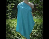 Turquoise Blue Nursing Shawl Cover Poncho Cotton Blend XS S M L Mother's Day gift