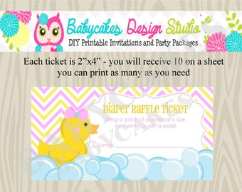 Diaper Raflle Ticket Rubber Ducky - DIY Print Your Own