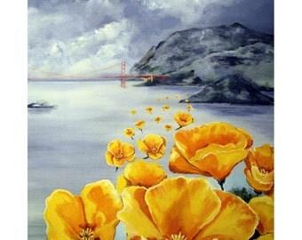 California Yellow Poppies, Bay and Golden Gate Bridge,Original illustration Artist Print Wall Art, Free Shipping in USA.