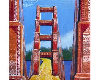 SAN FRANCISCO, The Roots, Golden Gate Bridge, Fantasy, Original illustration Artist Print Wall Art, Free Shipping in USA.