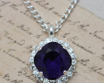 "Bridesmaids Necklace Purple Velvet Crystal Necklace 16"" Silver Necklace Petite Necklace Bridal Party Gift"