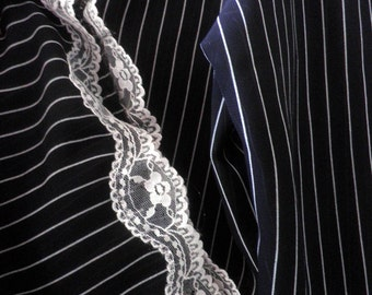 women's Lounge Pants, black with white pinstripes, Lace trim