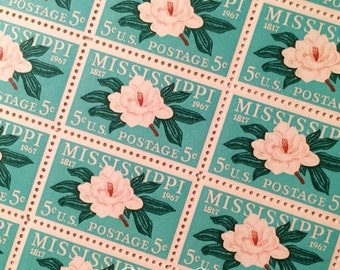 Set of 10 Mississippi Magnolia stamp. 5c unused postage stamp from 1967