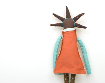 African american modern rag doll in cool spikes haircut , Salomon orange and turquoise mint dress, Dark brown dotted tights ,handmade doll