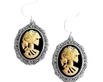 Lolita Skull Earrings - Skeleton Cameo Ivory - Day of the Dead