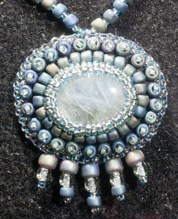 Green labradorite bead embroidered necklace by ames on etsy