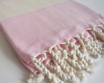 Bathstyle Turkish BATH Towel Peshtemal - SOFT - Pink Color - Wedding Gift, Beach, Spa, Swim, Pool Towels and Pareo