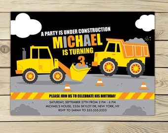 Construction Birthday Invitation Printable - Construction 1st Birthday Invitation - Boy 1st Birthday - Construction 2nd Birthday Invitation