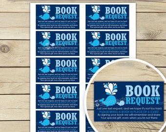 Whale Baby Shower Book Request Card - Please Bring A Book - Navy Blue Baby Shower Games Printable - Instant Download - Boy Baby Shower Games
