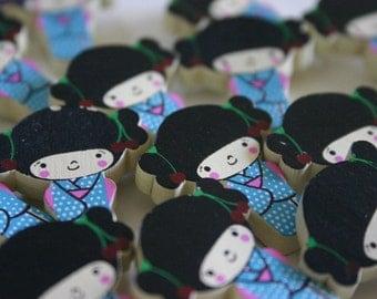 Blue chan - 1 wooden Kokeshi doll pin charm