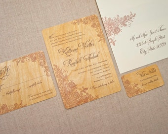 Real Wood Wedding Invitation - Brown Lace Invitation