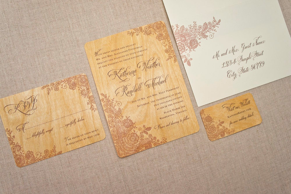 Real Wood Wedding Invitations: Real Wood Wedding Invitation Brown Lace By