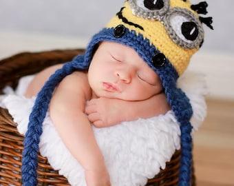 Newborn Minion Hat in Yellow and Blue, Halloween Costume for Baby, Newborn Photo Prop,