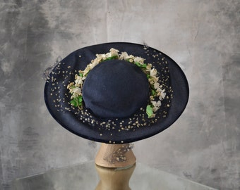 1940s Navy Blue Sun Hat