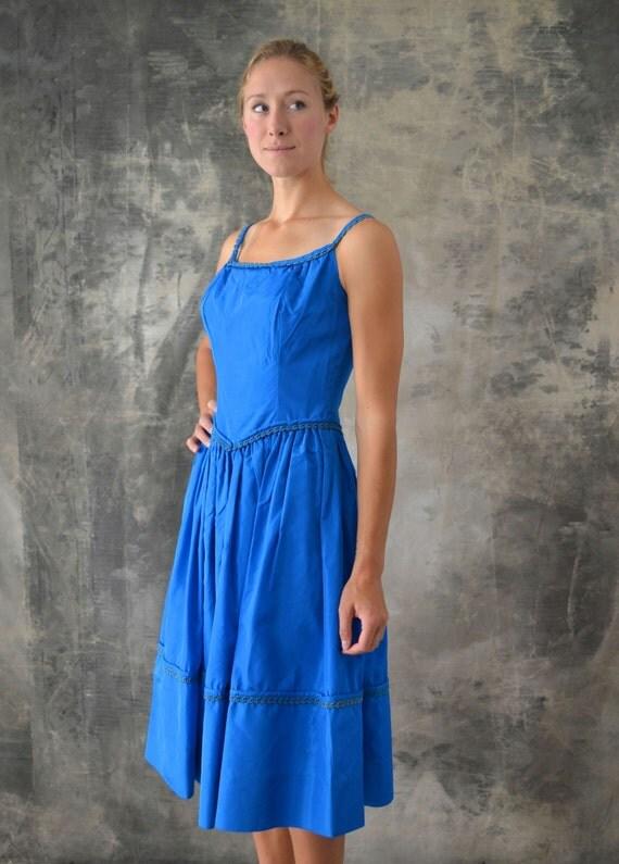 1960s Blue Satin Dress