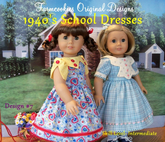 PDF Sewing Pattern for American Girl®  Dolls -1940's School Dresses / Sewing Pattern Kit, Ruthie and Molly