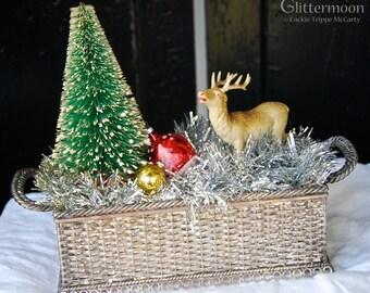 VIntage Deer With Bottlebrush Tree Holiday Tabletop Decor