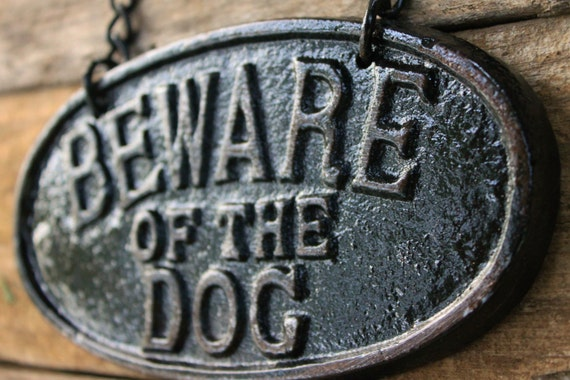Cast Iron Old Fashioned - Beware Of The Dog - Wall Mount Puppy Sign Plaque - Distressed Ebony Black-Metal Wall Decor-Vintage Inspired Sign