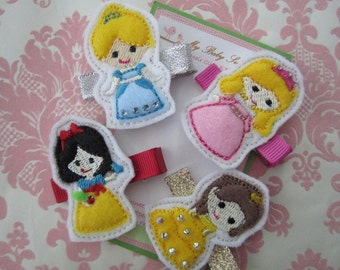 Girl hair clips - princess hair clips - girl barrettes