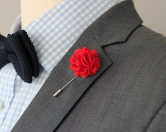 Red Felt Carnation lapel pin, flower boutnniere, lapel pin for men, Men's Wool Felt Lapel Flower, lapel boutonniere 1.2 inch or 2 inch