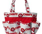 Kansas City Chiefs Bingo Bag // Craft Organizer // Makeup Organizer // Caddy // Teacher Tote // Nurse Tote
