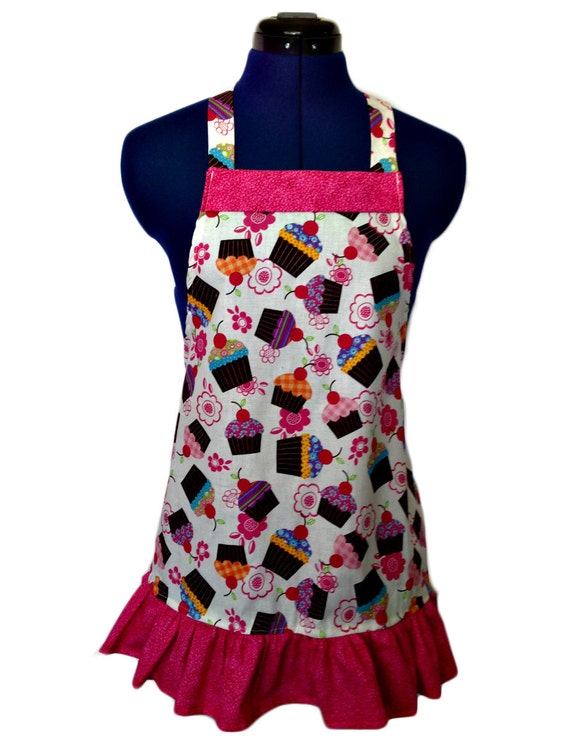 Cupcake in white print Kids apron Size 4-6-8-Young Adult