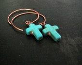 Turquoise Cross Earrings | Copper Hoops | Southwestern Rustic Earrings | Hoop Earrings | Cross Earrings