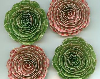 Peppermint and Wintergreen Handmade Rose Spiral Paper Flowers