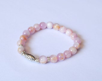 A Classic Kunzite Stone Bracelet mixed with Silver Plated Beads 8 mm.