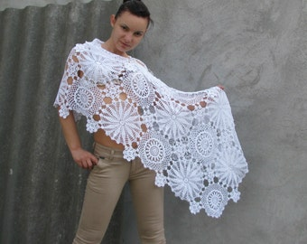 snow white Women Accessories Crochet shawl - White pure color