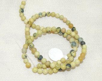 Green sepentine beads,Green serpentine 4mm beads,Green serpentine peridot jasper beads,Fall color bead,Green serpentine peridot jasper 4mm