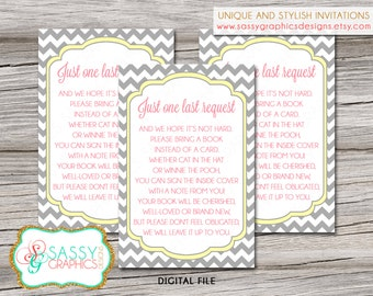 Bring a book insert card with gray chevron, pink, and yellow. Instant download, printable, digital file (#1)