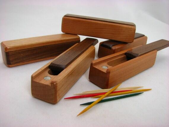 """Toothpick Holder, 4""""L x 1-1/4""""W x 7/8""""D, Walnut Top/Cherry Bottom/Wooden Box for Toothpicks, Paul Szewc"""