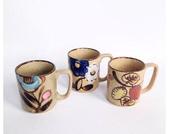 Vintage Stackable Floral Mugs