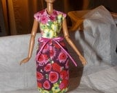 Colorful floral modest dress for Fashion Dolls - ed646