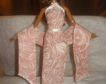 Soft pink and white floral 3-piece formal set for Fashion Dolls - ed481