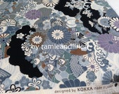 "Japanese Kimono cotton fabric, floral print Special texture cotton fabric, kokka, made in japan, half yard by 47"" wide"